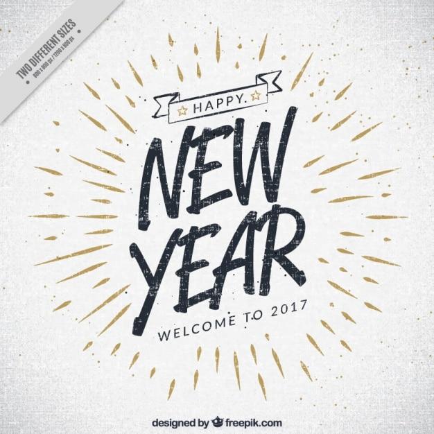 ヴィンテージ2017年新年の背景 無料ベクター