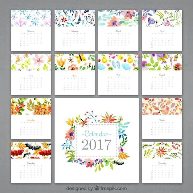 水彩花のカレンダー2017 無料ベクター