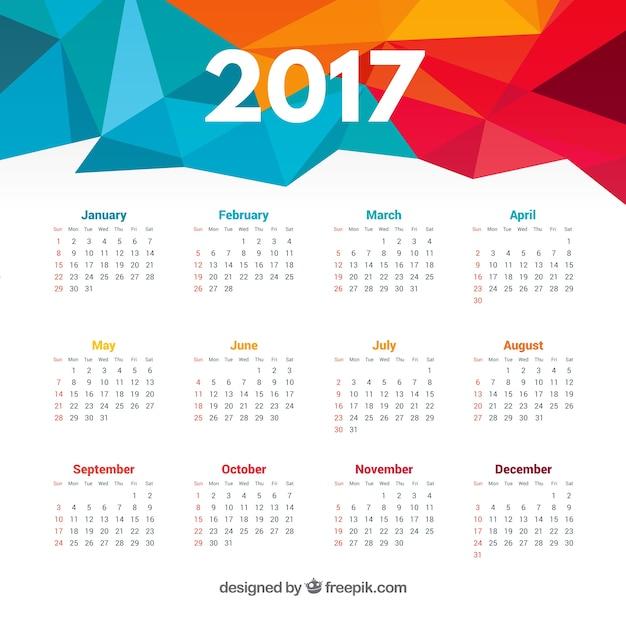 ブルー多角2017年カレンダー 無料ベクター