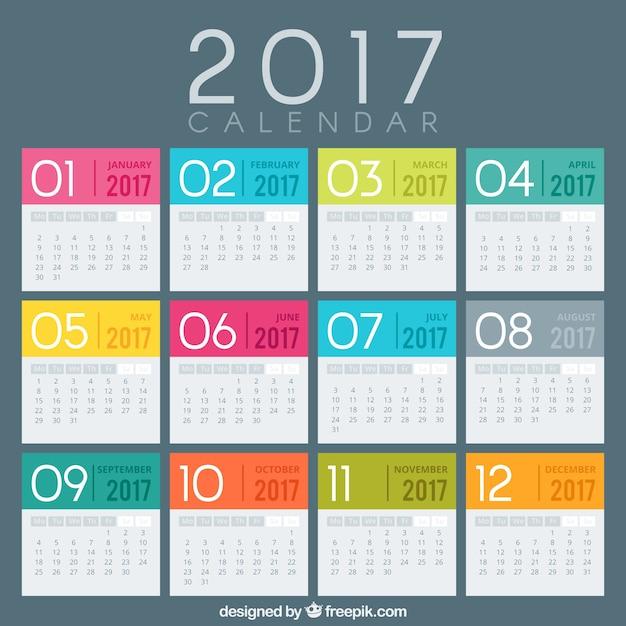 着色された2017年カレンダーテンプレート 無料ベクター