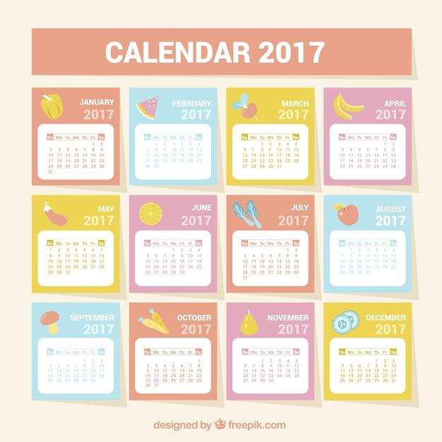 健康食品との2017年カレンダー 無料ベクター