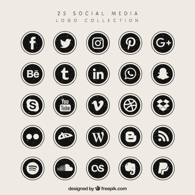 Черный логотип коллекции социальных медиа Бесплатные векторы