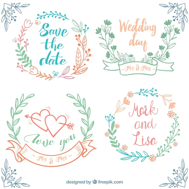 Ручной тяге набор свадьбы рамы с цветочным декором Бесплатные векторы