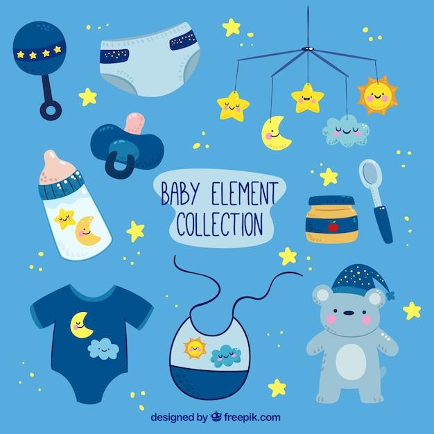 黄色の詳細と赤ちゃん要素のブルーコレクション 無料ベクター