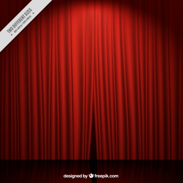театральная сцена фон с красными занавесками Бесплатные векторы