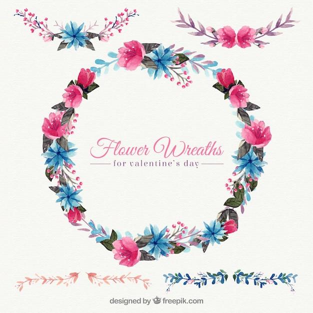 美しい装飾的な水彩花の花輪の背景 無料ベクター