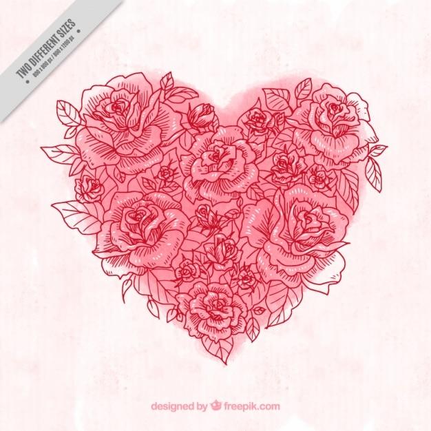 バラのスケッチで作られた水彩心の背景 無料ベクター