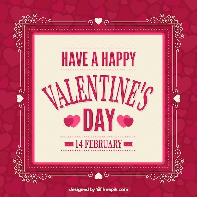 valentine's日の装飾用のフレームと美しい背景 無料ベクター