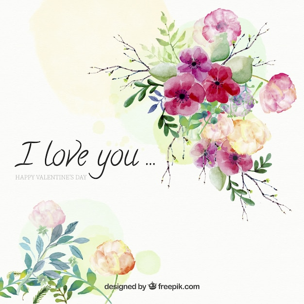 愛のメッセージと花の水彩画の背景 無料ベクター