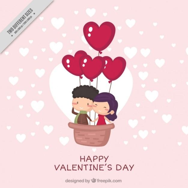 幸せな若いカップルかわいいバレンタインの背景 無料ベクター