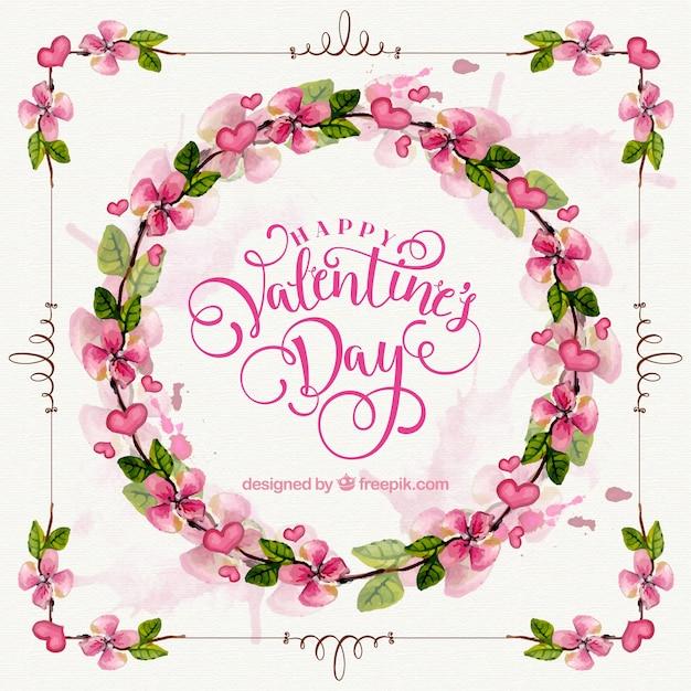 バレンタインのためのプリティ花の水彩画の花輪 無料ベクター