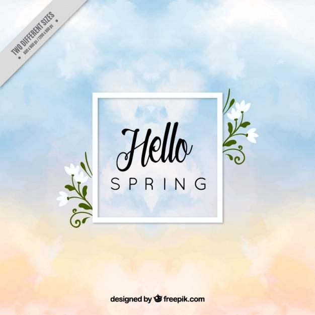 水彩雲と春の空の背景 無料ベクター
