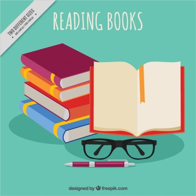 書籍や眼鏡、背景の山 無料ベクター