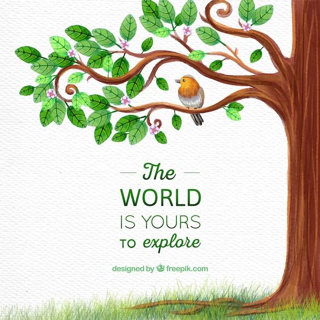 鳥と感激のメッセージを持つツリー 無料ベクター