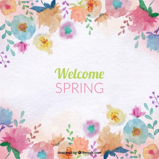 色の水彩画の花と春の背景 無料ベクター