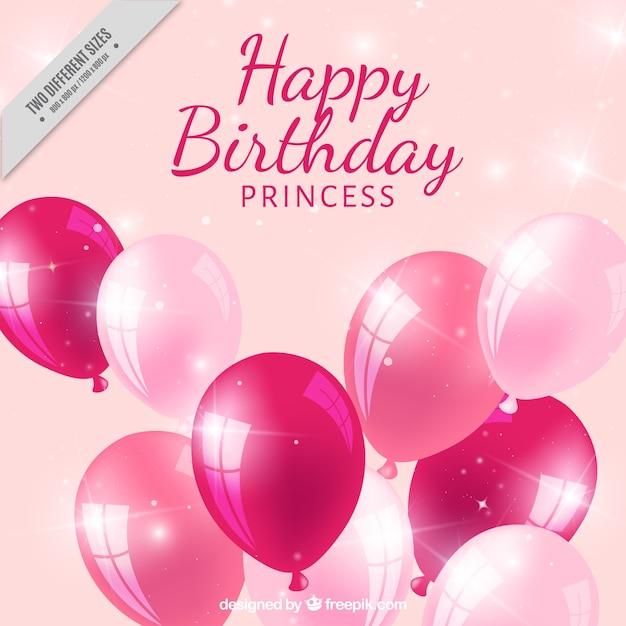 ピンクのバルーンで現実的な誕生日の背景 無料ベクター