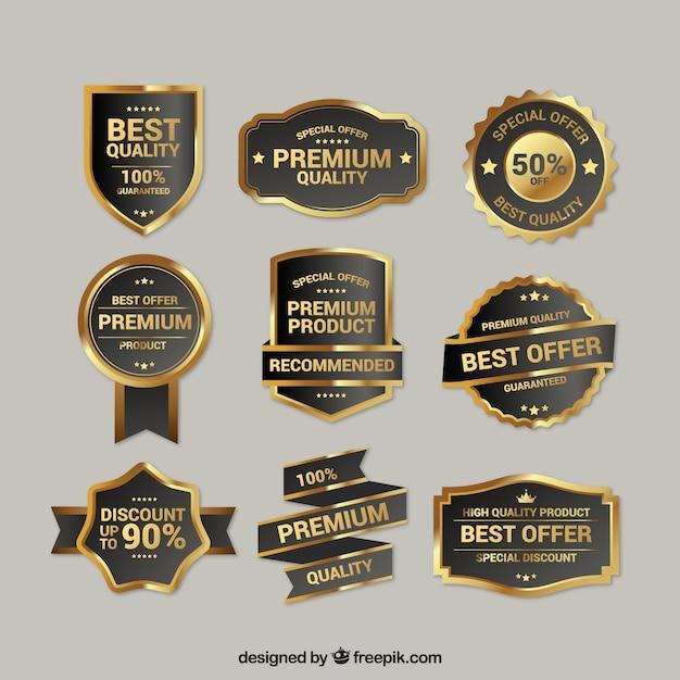 プレミアム品質黄金の記章のコレクション 無料ベクター