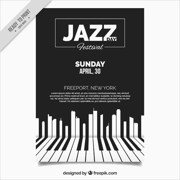 ピアノのキーを持つエレガントなジャズのパンフレット 無料ベクター