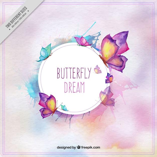 水彩画のスタイルでかわいい蝶の背景 無料ベクター
