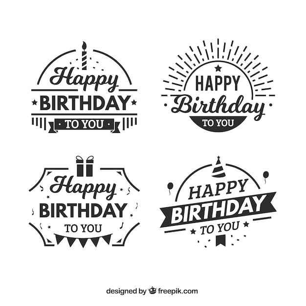 素晴らしい誕生日ステッカーのフラットセット 無料ベクター