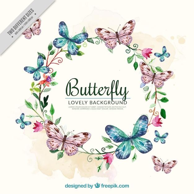花の花輪や蝶と水彩画の背景 無料ベクター