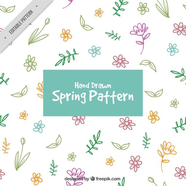 手描きの色の花のパターン 無料ベクター