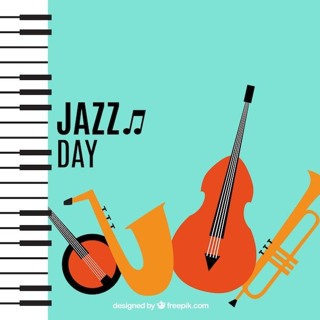 ピアノとジャズ楽器の背景 無料ベクター