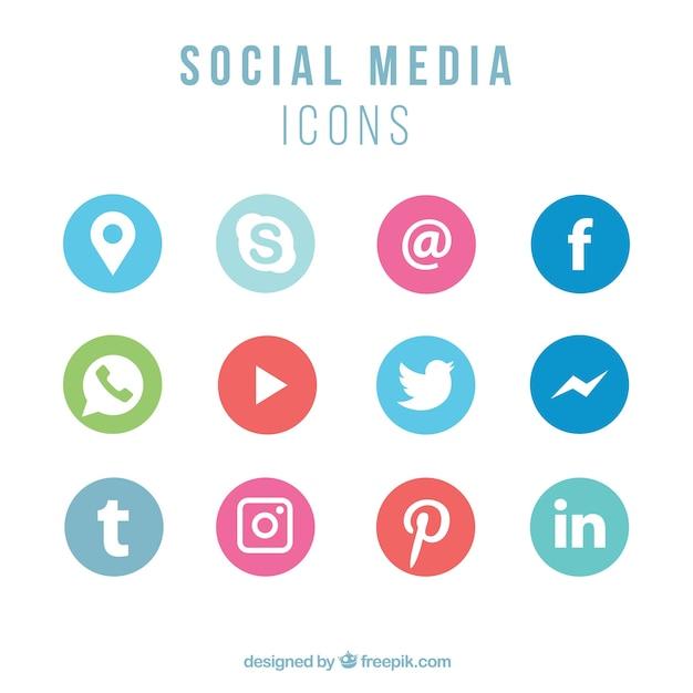 ソーシャルネットワーキングのアイコンのコレクション 無料ベクター