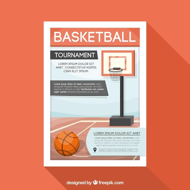 バスケットボール大会のパンフレット 無料ベクター