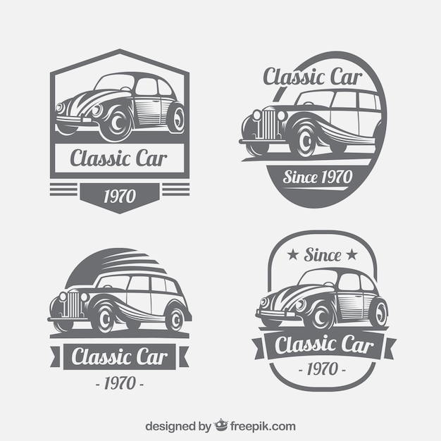 クラシックカーとロゴのヴィンテージコレクション 無料ベクター