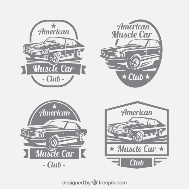 レトロなスタイルでの車のロゴの大集合 無料ベクター