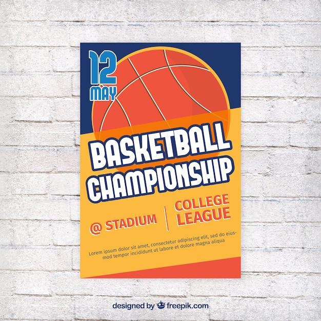 レトロなデザインでバスケットボールパンフレット 無料ベクター