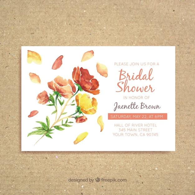 きれいな花を水彩ブライダルシャワーの招待状 無料ベクター