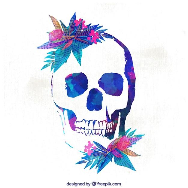 水彩花の頭蓋骨の背景 無料ベクター