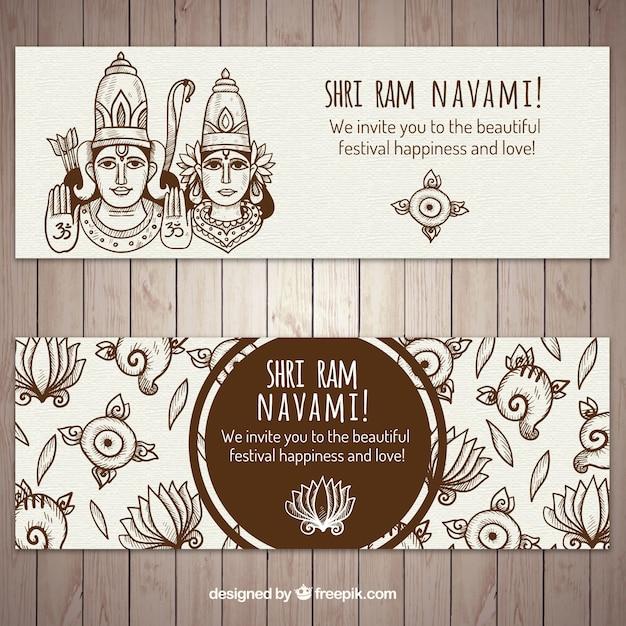 手描きスタイルで装飾ラムnavamiバナー 無料ベクター