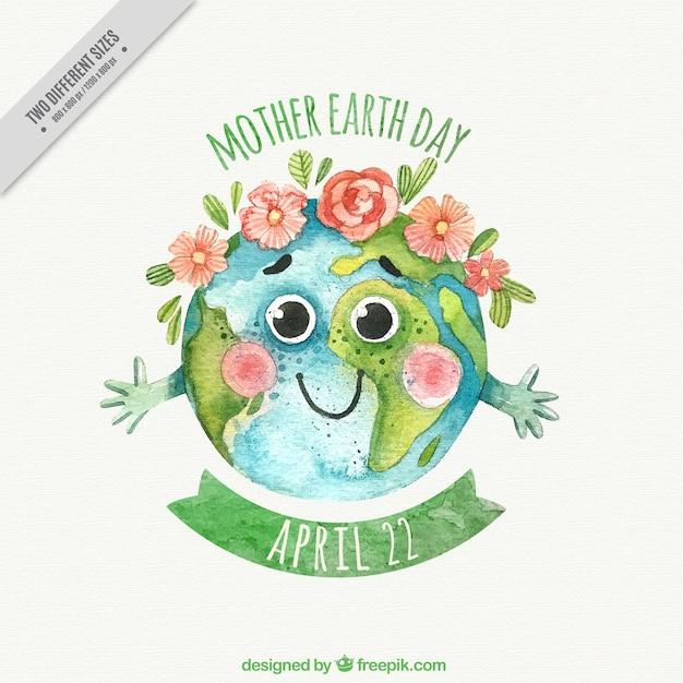 母なる地球の日のための装飾的な花の水彩画の背景 無料ベクター