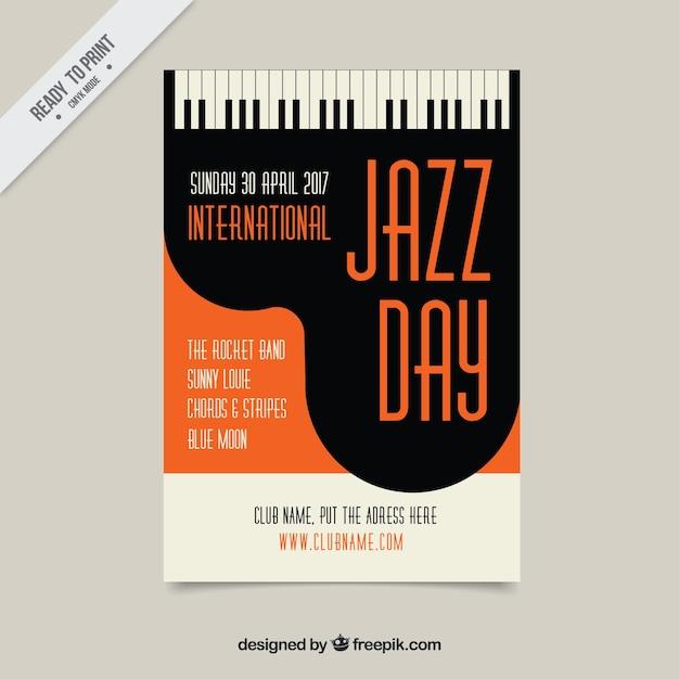 ヴィンテージスタイルのジャズピアノのパンフレット 無料ベクター