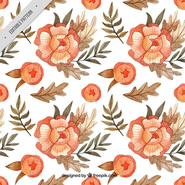 水彩画の花のバティックパターン 無料ベクター