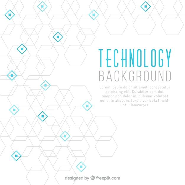 六角形と青の四角の技術の背景 無料ベクター