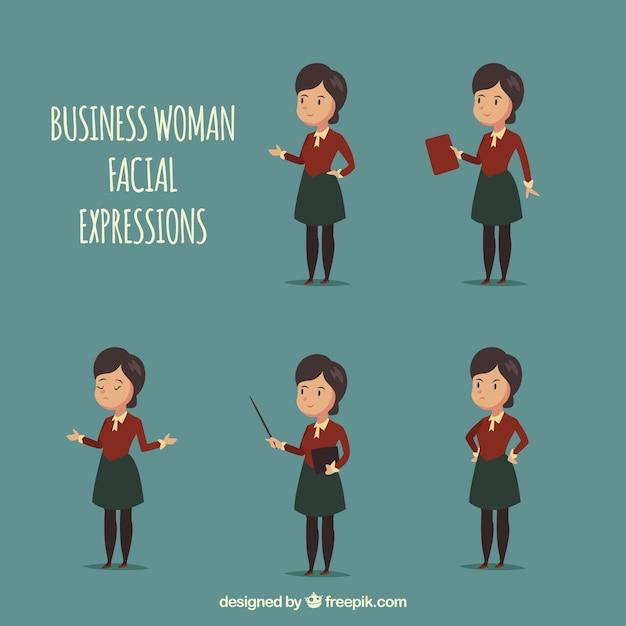 5異なる表情を持つ実業家キャラクター 無料ベクター