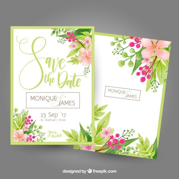 Bachelorette открытка с цветами и листьями Бесплатные векторы