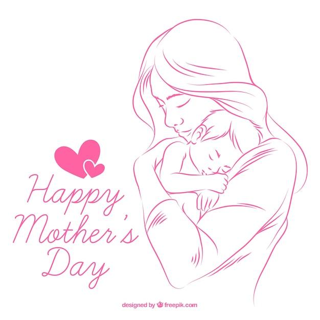 手の背景には、赤ちゃんと母親を描か 無料ベクター