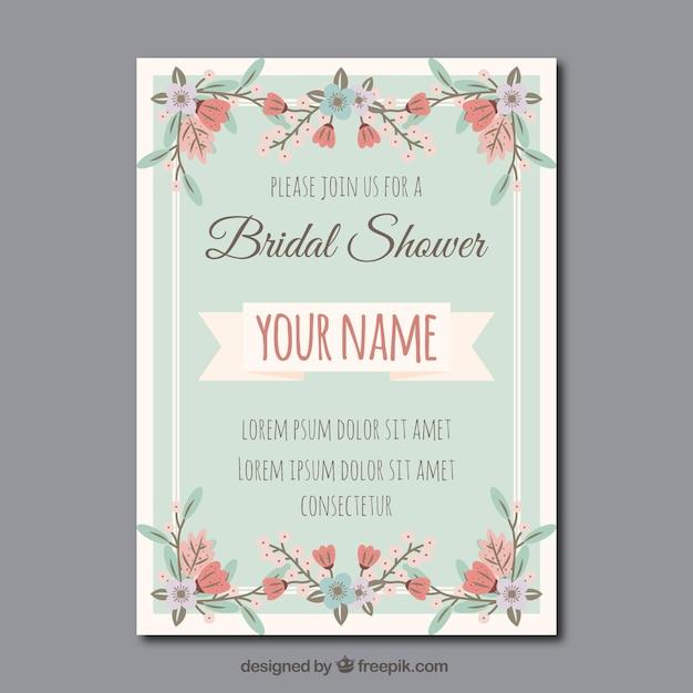 ヴィンテージスタイルで花のブライダルシャワーの招待状 無料ベクター