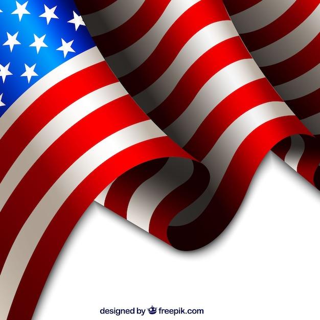 アメリカの旗現実的な背景 無料ベクター