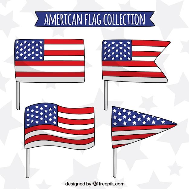 さまざまな形のアメリカの旗のコレクションフラットデザイン 無料ベクター