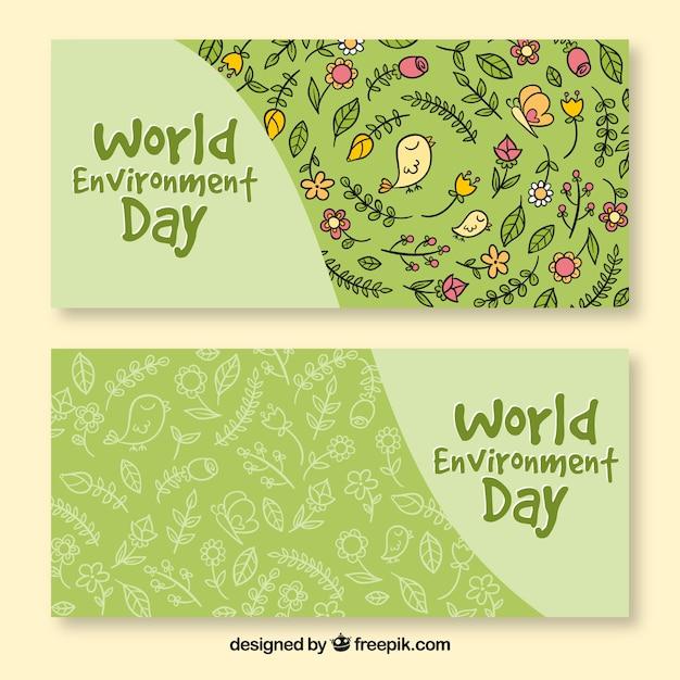 花のパターンと世界環境の日のバナー 無料ベクター