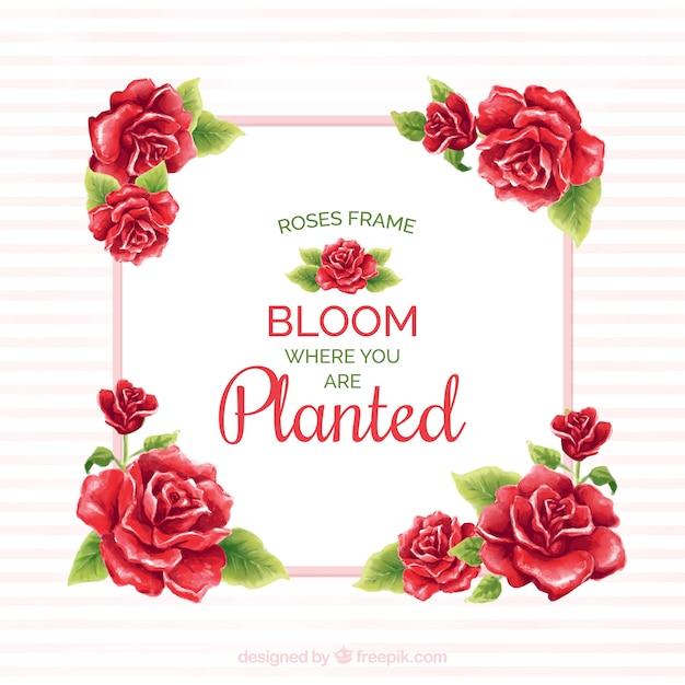 赤いバラのフレームに水彩のメッセージ 無料ベクター