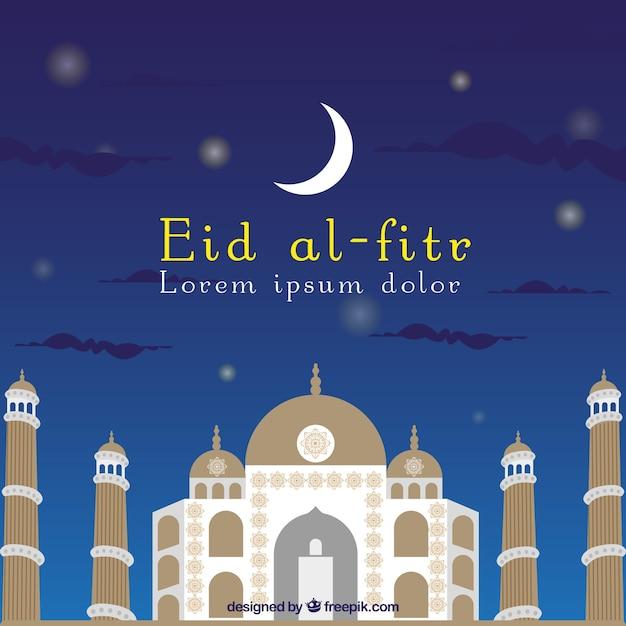 モスクと月のeidアルフィートの背景 無料ベクター