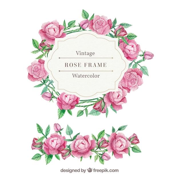バラと水彩の葉のヴィンテージフレーム 無料ベクター