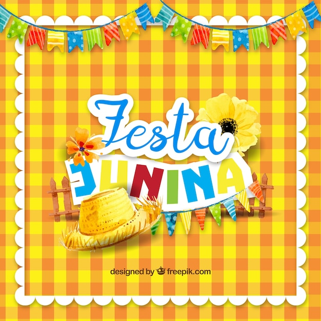 フェスタパーティーの伝統的な要素を持つ黄色のテーブルクロスの背景 無料ベクター